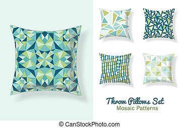 Set Of Throw Pillows In Matching Unique Abstract Geometric...