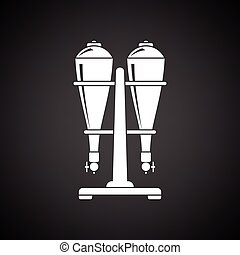 Soda siphon equipment icon. Black background with white....