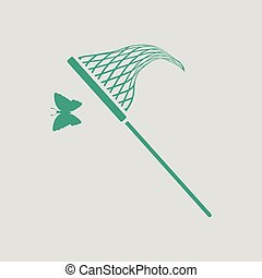 Butterfly net icon. Gray background with green. Vector...