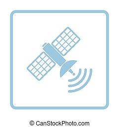 Satellite icon. Blue frame design. Vector illustration.