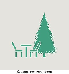 Park seat and pine tree icon. Gray background with green....