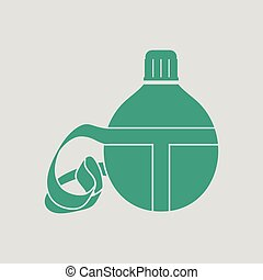 Touristic flask icon. Gray background with green. Vector...