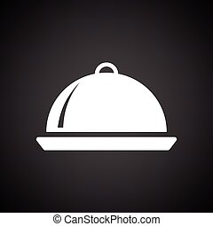 Restaurant cloche icon. Black background with white. Vector...