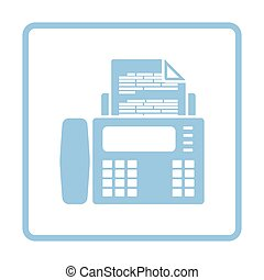 Fax icon. Blue frame design. Vector illustration.