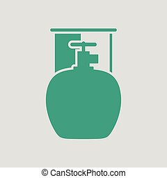 Camping gas container icon. Gray background with green....