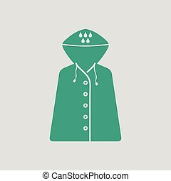 Raincoat icon. Gray background with green. Vector...