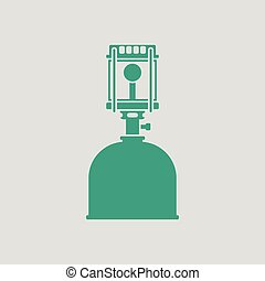 Camping gas burner lamp icon. Gray background with green....