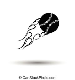 Baseball fire ball icon. White background with shadow...
