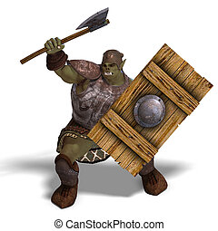 Male Fantasy Orc Barbarian with Giant Axe 3D rendering with...