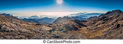 On Mount Wilhelm - Panoramic photo of sunrise on Mount...