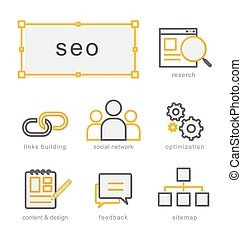 Thin line icons set, Search Engine Optimization - Thin line...