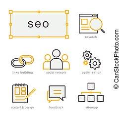 Thin line icons set, Search Engine Optimization - Thin line...
