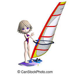 sweet cartoon girl standing on a surfboard. 3D rendering...