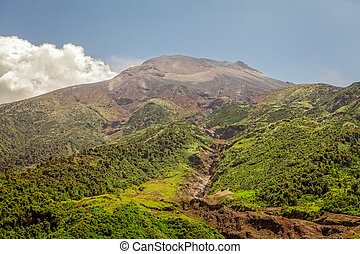 Tungurahua Volcano Under Blue And Clear Sky - View Of The...