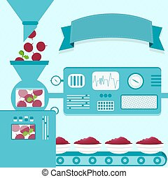 Beet cream production - Vector illustration of factory...