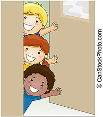 Children Waving - Children inside Classroom Waving with...