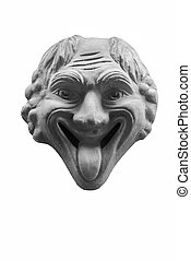 Gargoyle - Ugly gargoyle with tongue out. Isolated.