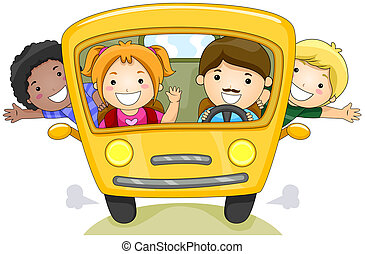 School Bus - Children on School Bus with Clipping Path