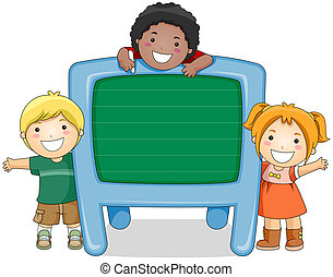 Children with Chalkboard with Clipping Path