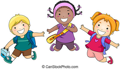 Jumping - Children Jumping with Clipping Path