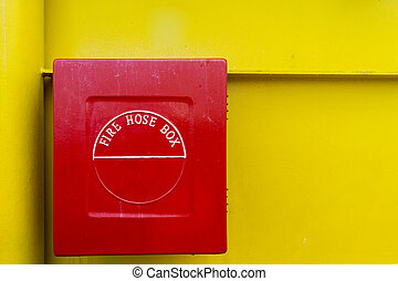 fire fighting equipment - Red fire hose box with yellow...