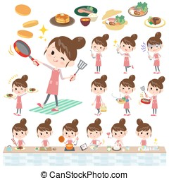 Ballet Bun hair Apron mom cooking - Set of various poses of...
