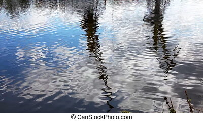 Reflection of a crane ship in water