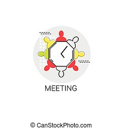 Business Team Meeting Brainstorm Icon Vector Illustration