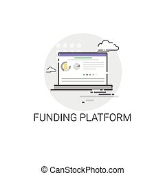 Crowdfunding Business Funding Platform Concept Icon Vector...
