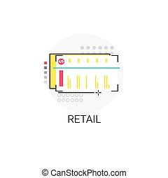 Market Shopping Mall Retail Store Icon Vector Illustration
