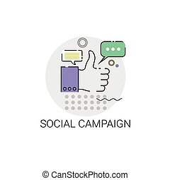 Social Campaign Business Strategy Icon Vector Illustration