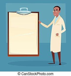 Medical Doctor African American Man Practitioner Point To Empty Board