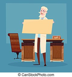 Medical Doctor Senior Practitioner Hold Empty Board Flat...