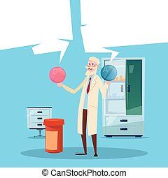 Medical Doctor Senior Man Practitioner Pharmacist Hold Two...