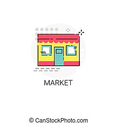 Market Shopping Mall Building Icon Vector Illustration