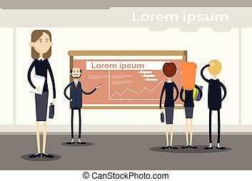 Business People Group Presentation Flip Chart Finance, Businesspeople Team Training Conference Meeting