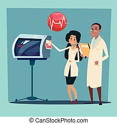 Medical Doctor Team Man and Woman Cardiologist Analysis...