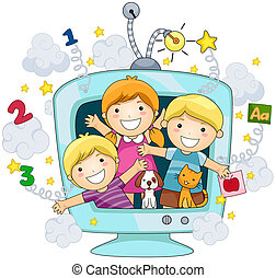 Educational TV - Children on Educational TV with Clipping...