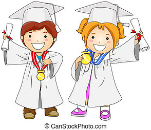 Graduates - Children Graduates with Clipping Path