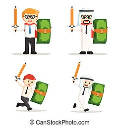 businessman with pencil sword and money shield set
