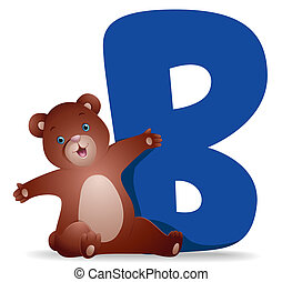 B for Bear with Clipping Path