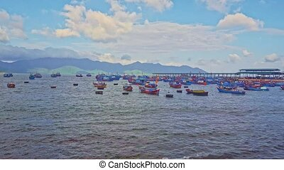 Vietnamese Fishing Boats Drift in Azure Sea at Dawn - lots...