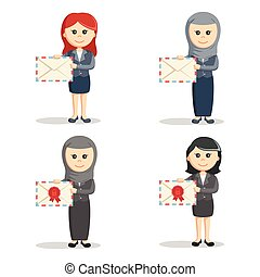 business woman with mail set