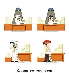 business people searching document set