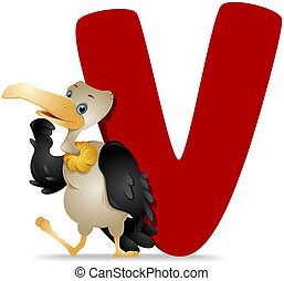 V for Vulture with Clipping Path