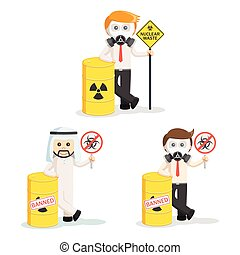 business people and hazardous waste set