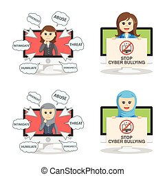 businesswoman cyber bullying set