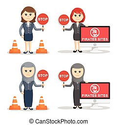 businesswoman with stop sign set