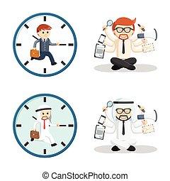 business people multitask set