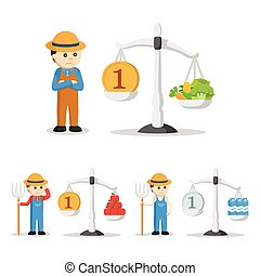 farmer with balancing scale set